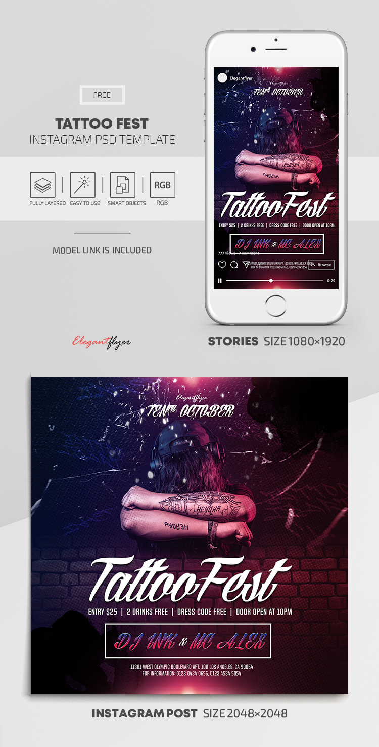 Tattoo Fest – Free Instagram Stories Template in PSD + Post Templates
