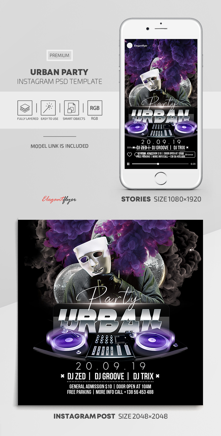 Urban Party – Instagram Stories Template in PSD + Post Templates