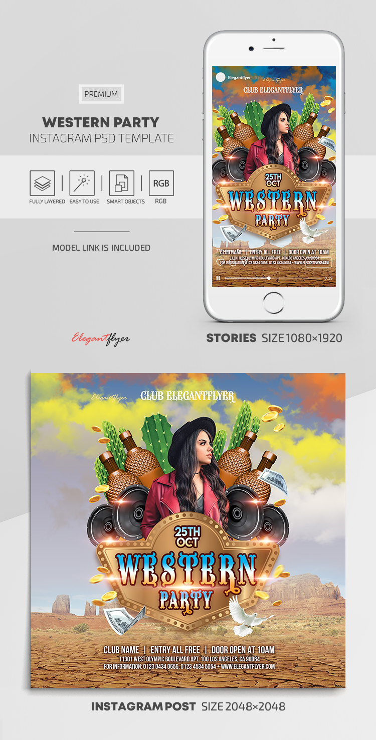 Western Party – Instagram Stories Template in PSD + Post Templates