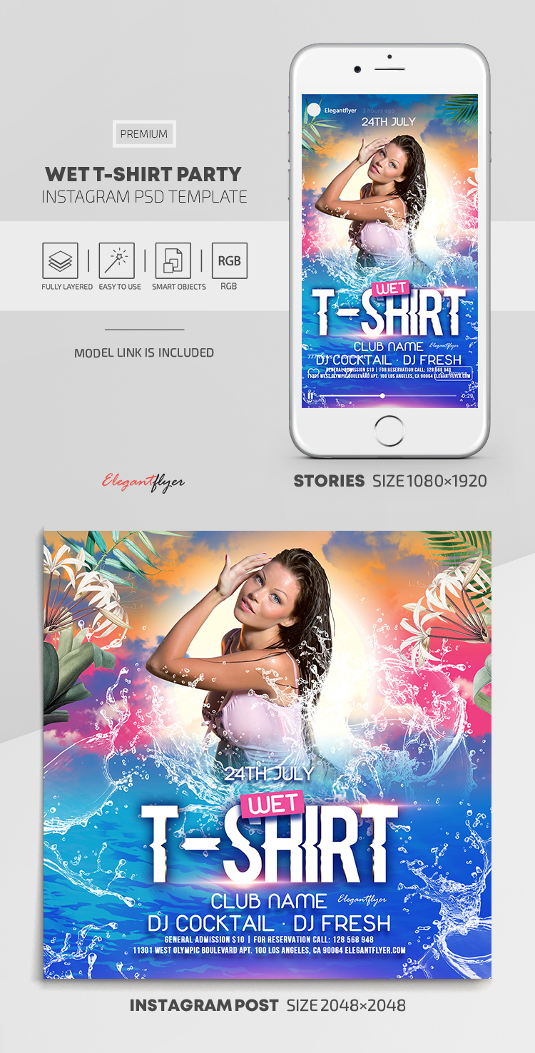 Wet T-Shirt Party – Instagram Stories Template in PSD + Post Templates