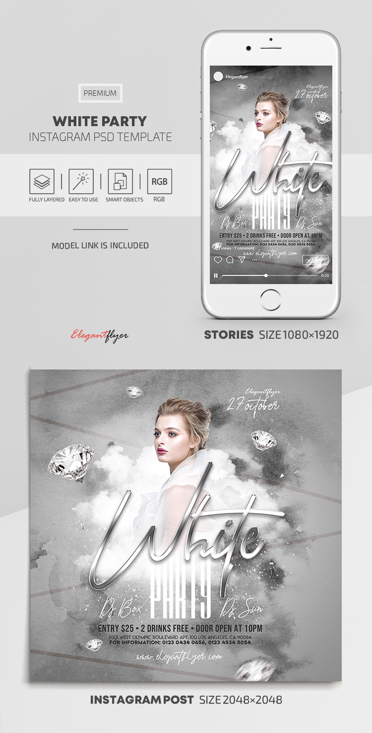 White Party – Instagram Stories Template in PSD + Post Templates