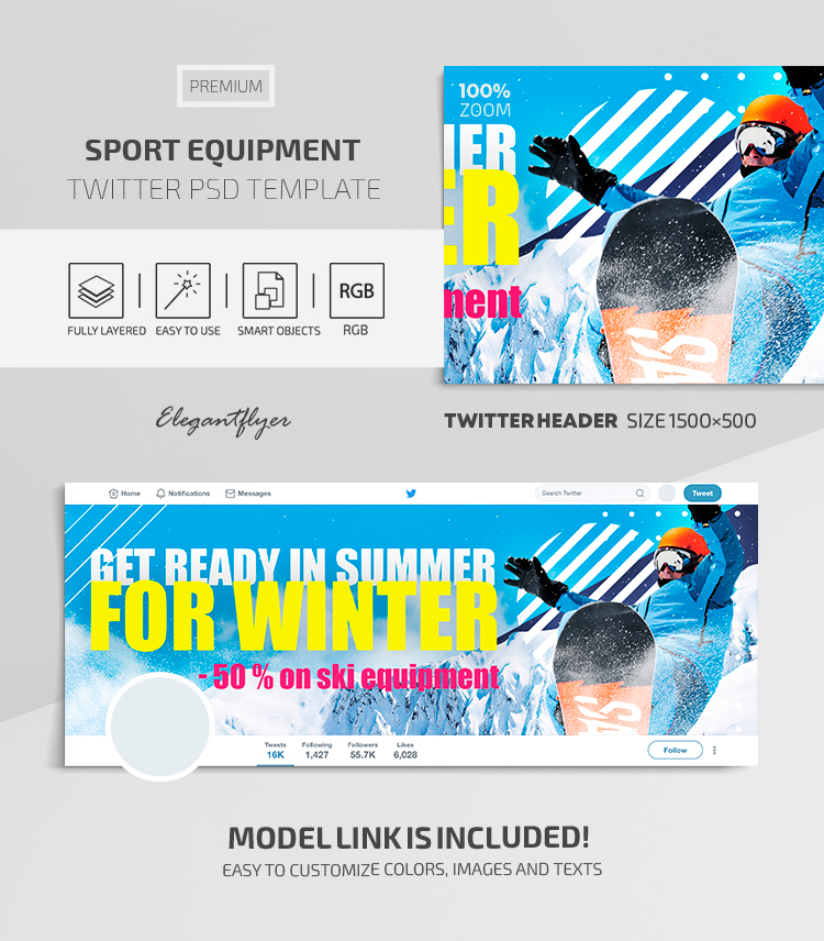 Sport Equipment – Twitter Header Premium PSD Template