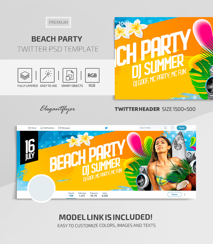Beach Party – Twitter Header Premium PSD Template