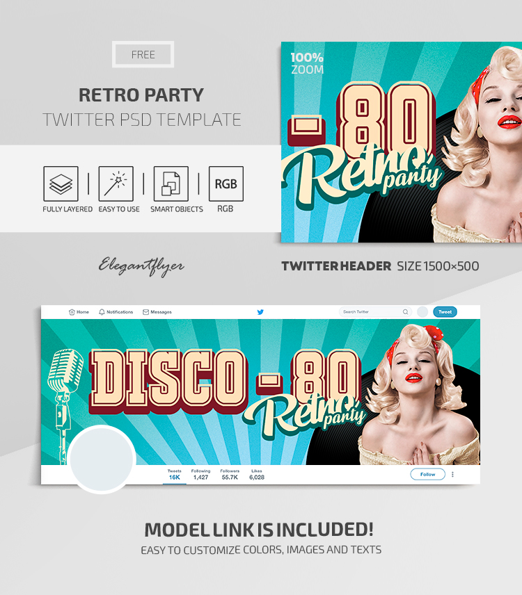 Retro Party – Twitter Header FREE PSD Template