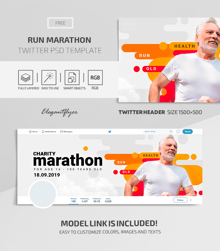 Run Marathon – Twitter Header FREE PSD Template