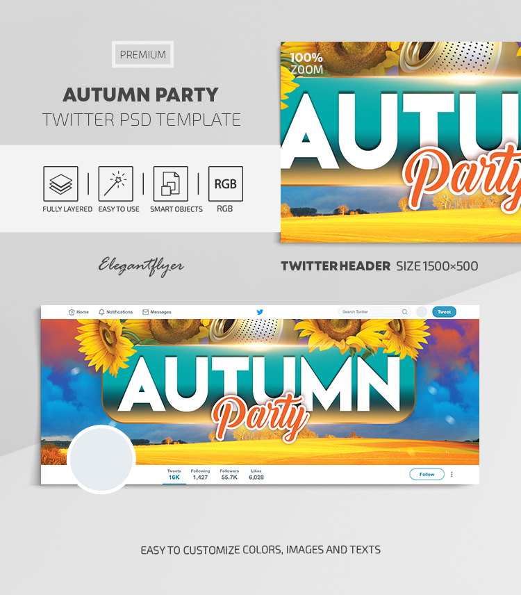 Autumn Party – Twitter Header PSD Template
