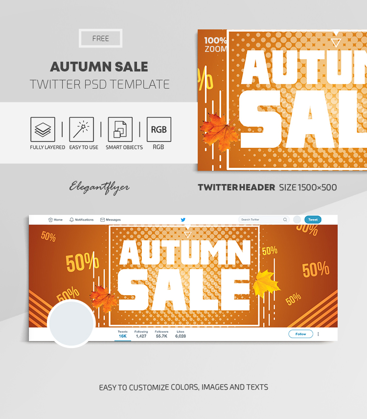 Autumn Sale – Free Twitter Header PSD Template