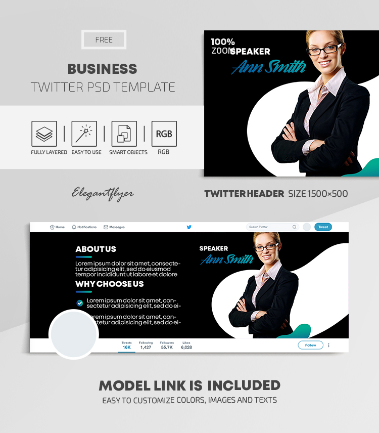 Business – Free Twitter Header PSD Template