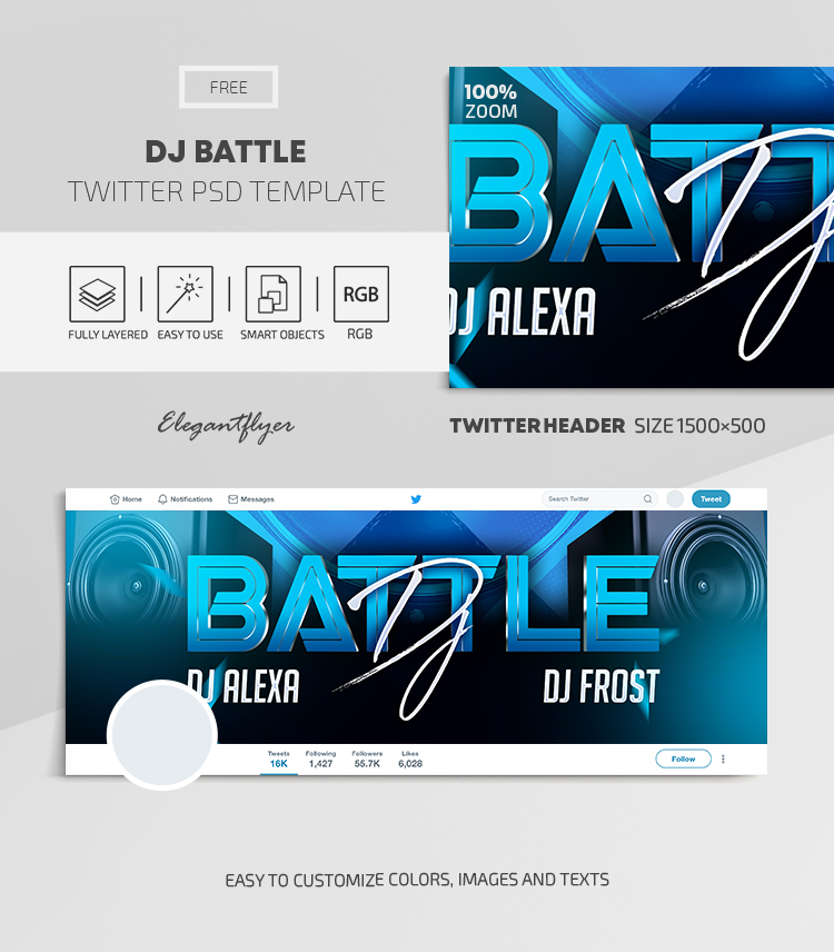 DJ Battle – Free Twitter Header PSD Template
