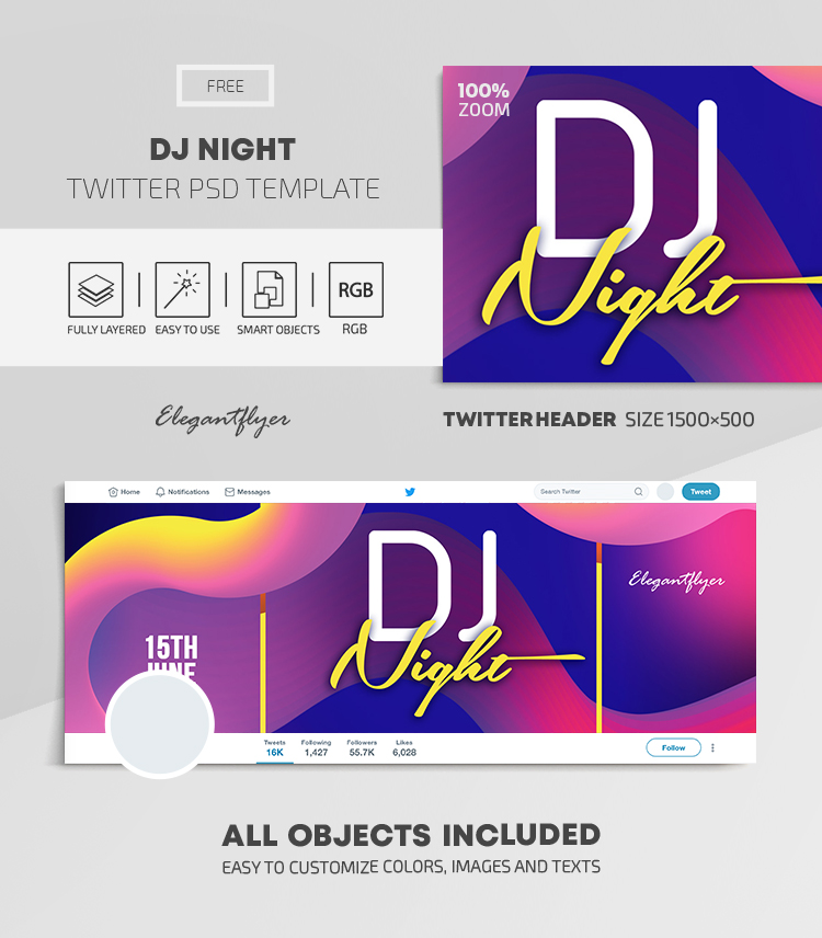 DJ Night – Free Twitter Header PSD Template