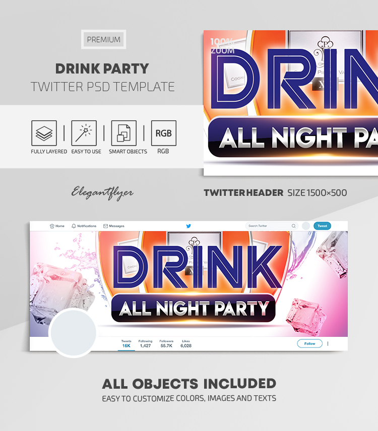 Drink Party – Twitter Header PSD Template