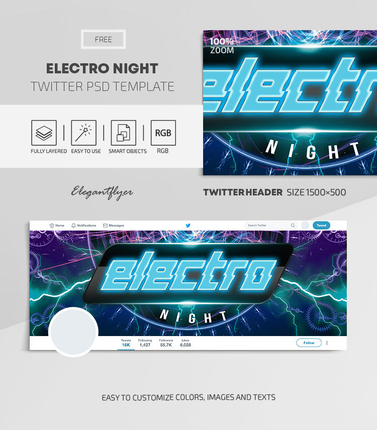 Electro Night – Free Twitter Header PSD Template