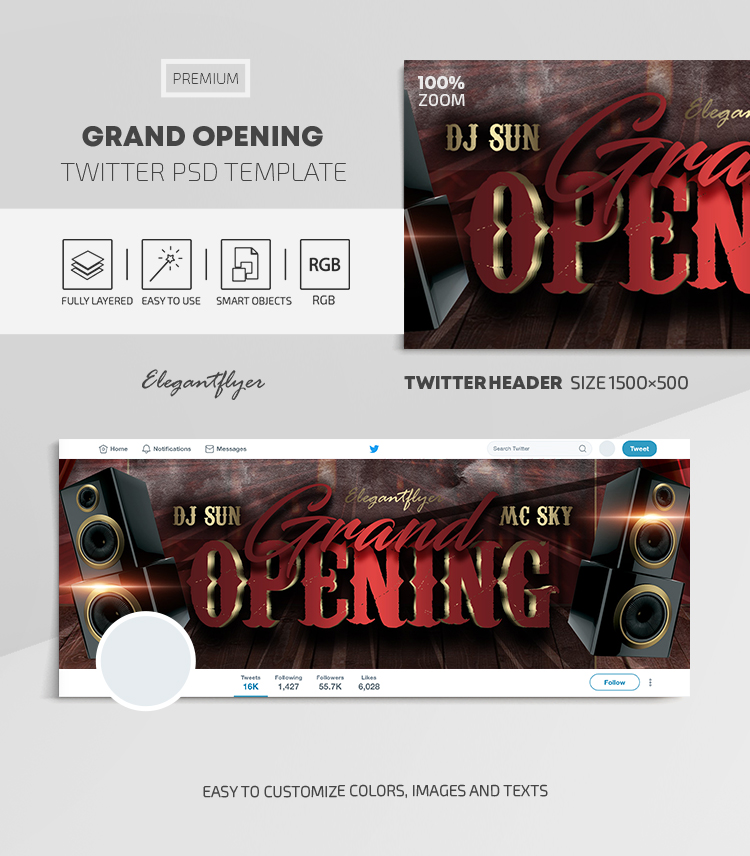 Grand Opening – Twitter Header PSD Template