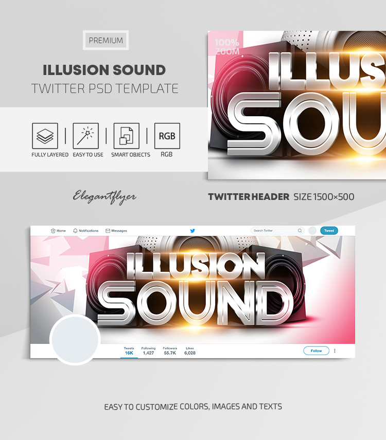 Illusion Sound – Twitter Header PSD Template