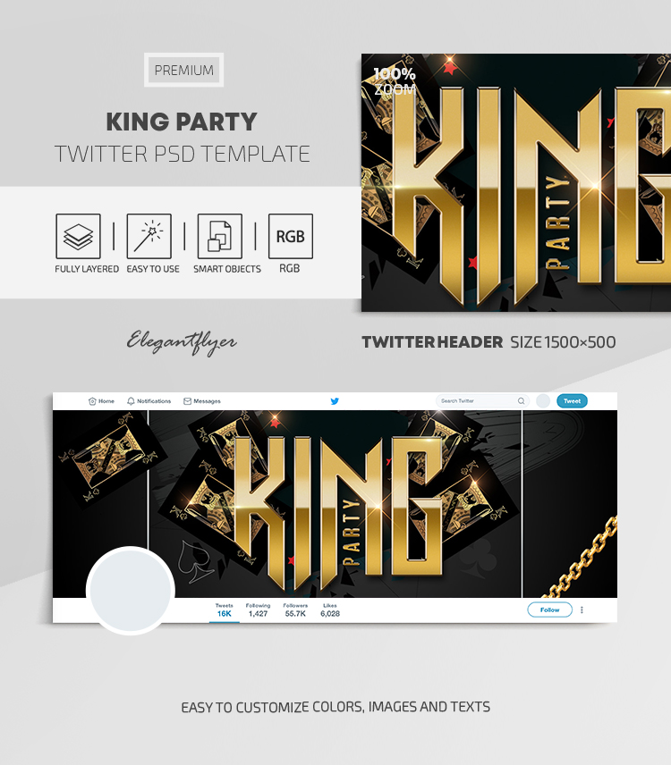 King Party – Twitter Header PSD Template
