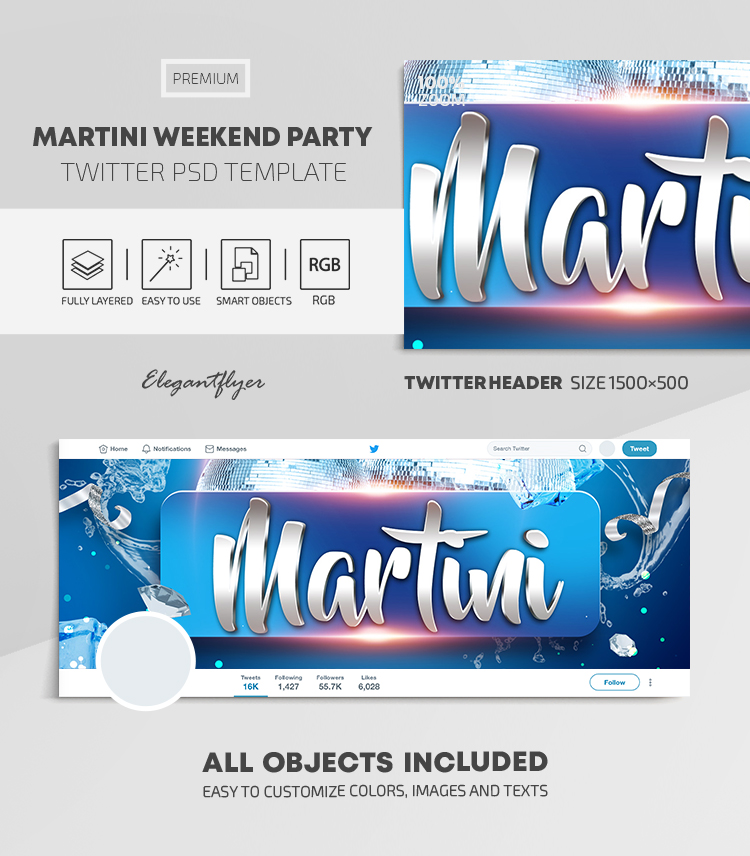 Martini Weekend Party – Twitter Header PSD Template