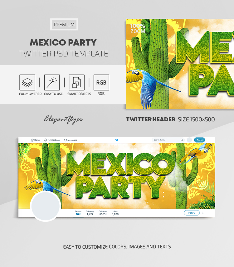 Mexico Party – Twitter Header PSD Template