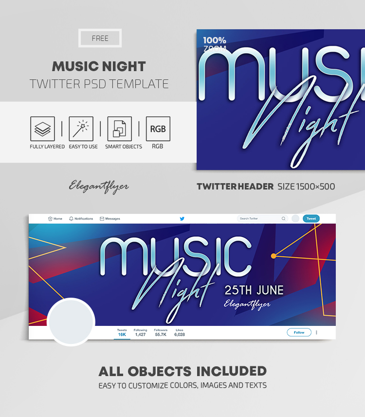 Music Night – Free Twitter Header PSD Template