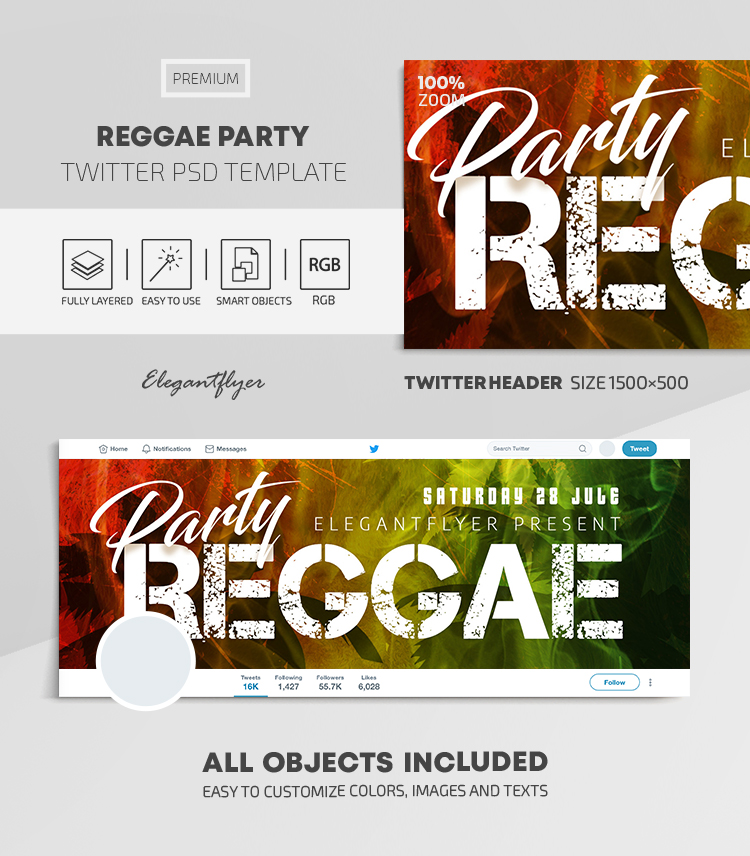 Reggae Party – Twitter Header PSD Template