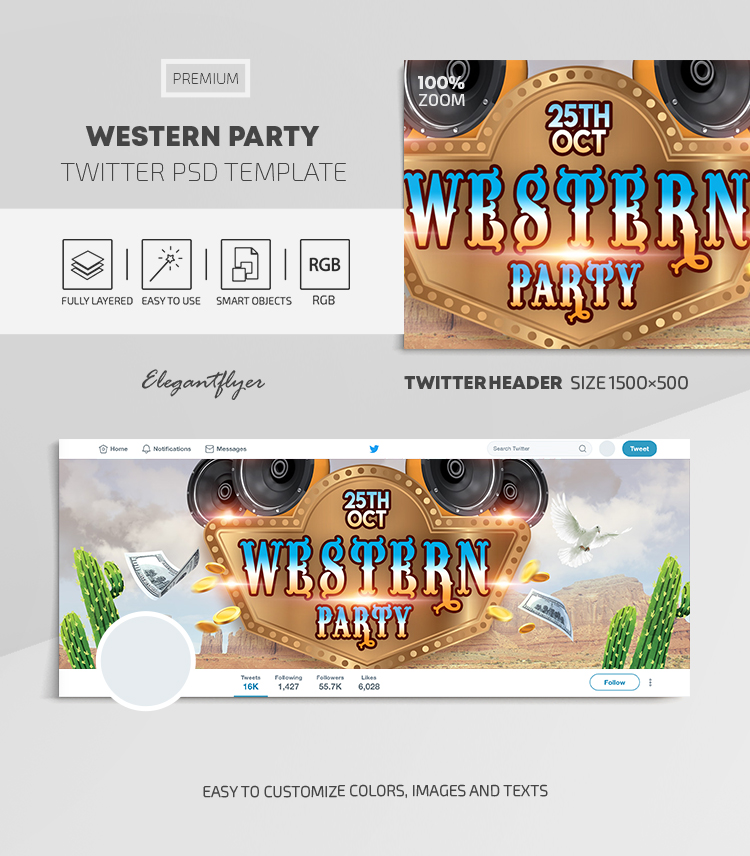 Western Party – Twitter Header PSD Template