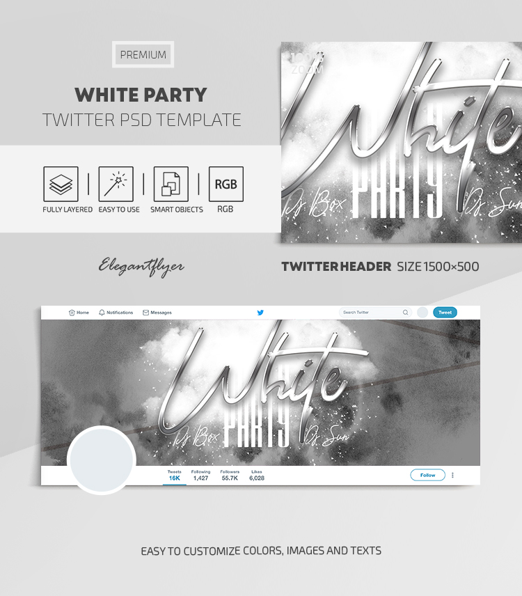 White Party – Twitter Header PSD Template