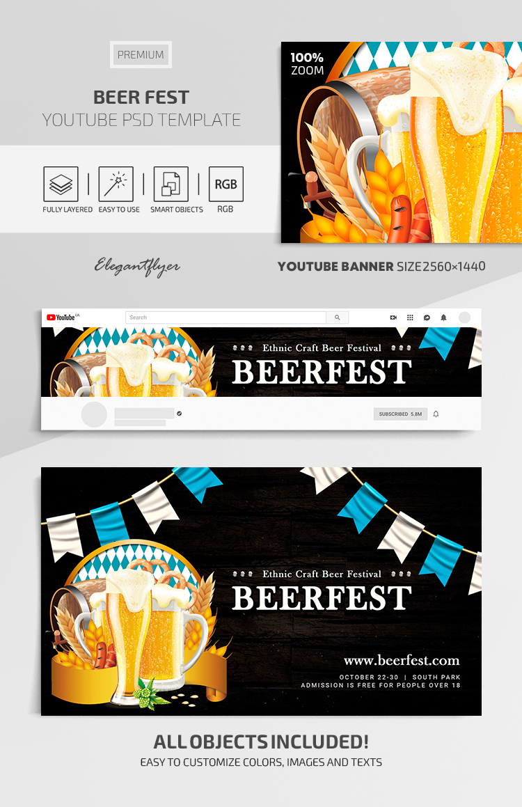 Beer Fest – Youtube Channel banner Premium PSD Template