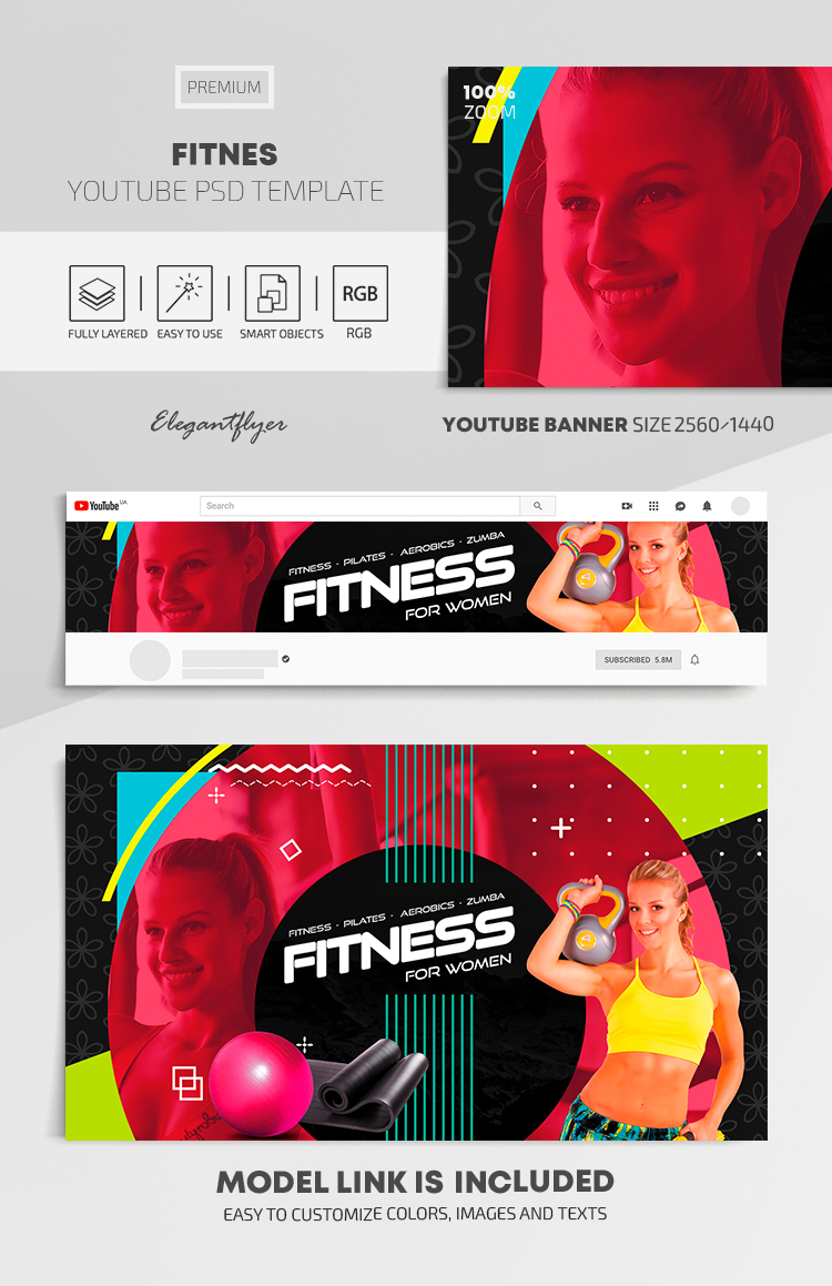 Fitness – Youtube Channel banner Premium PSD Template