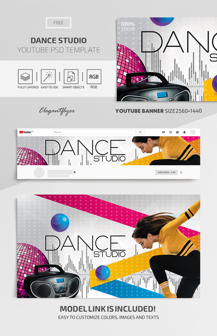 Dance Studio – Youtube Channel banner FREE PSD Template