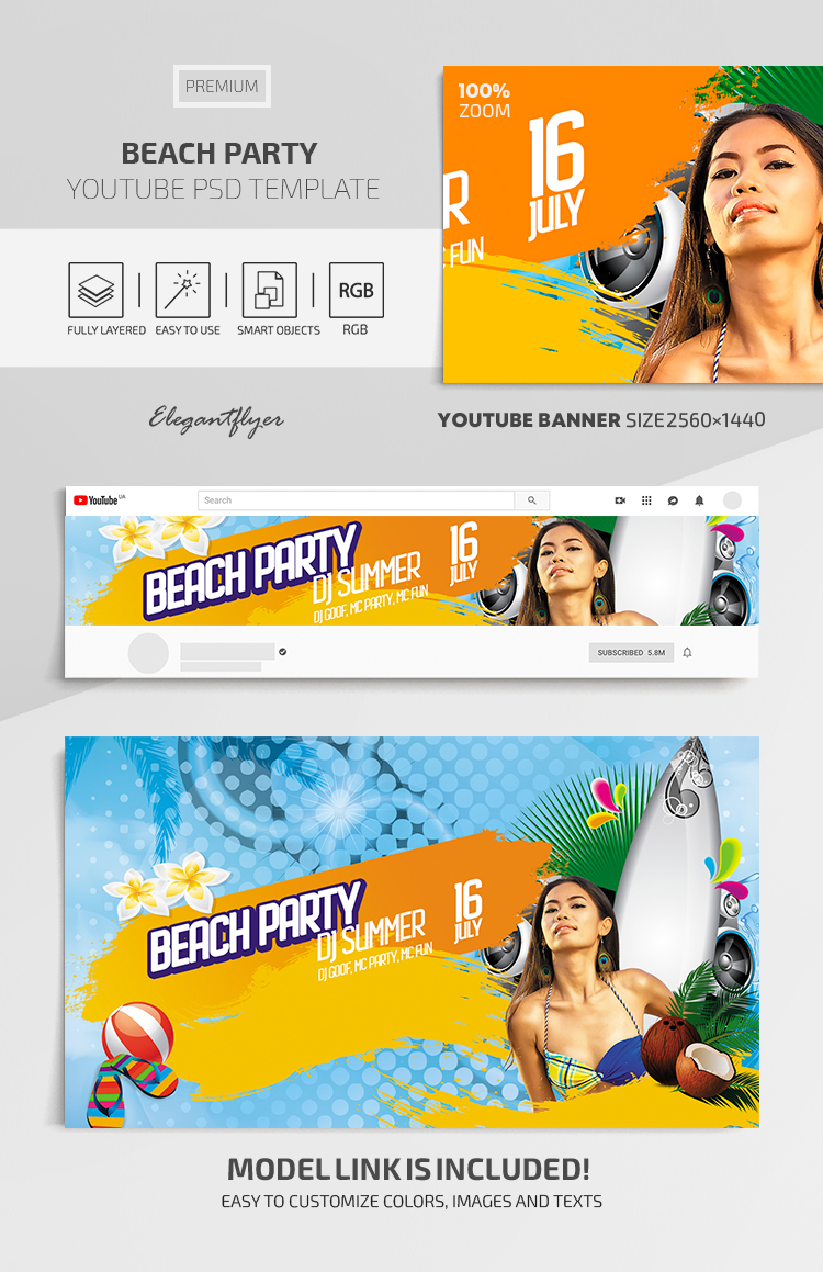 Beach Party – Youtube Channel banner Premium PSD Template
