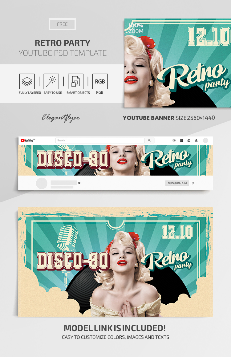 Retro Party – Youtube Channel banner FREE PSD Template