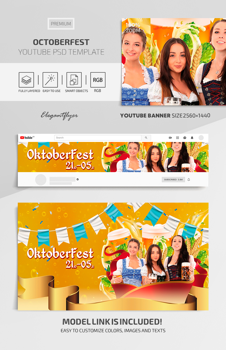 OctoberFest – Youtube Channel banner Premium PSD Template