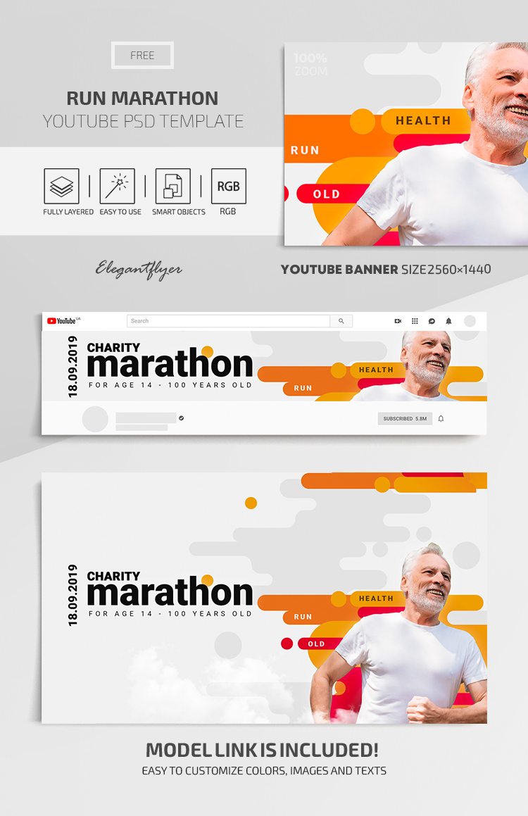 Run Marathon – Youtube Channel banner FREE PSD Template