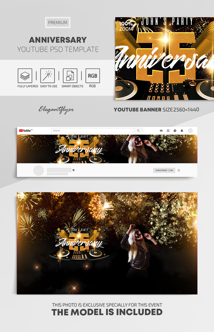 Anniversary – Youtube Channel banner PSD Template