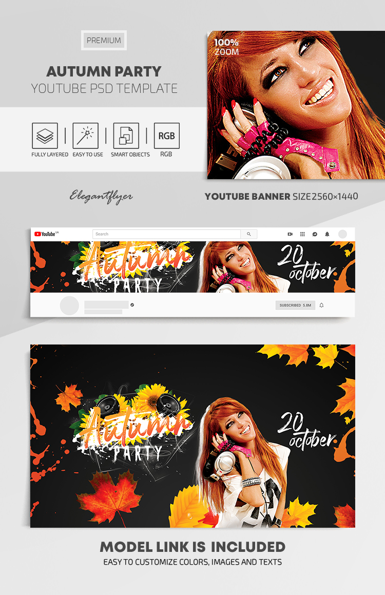Autumn Party – Youtube Channel banner PSD Template
