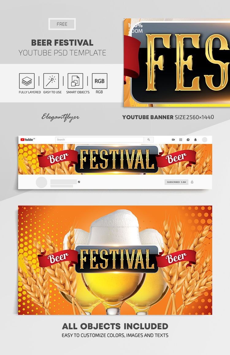 Beer Festival – Free Youtube Channel banner PSD Template