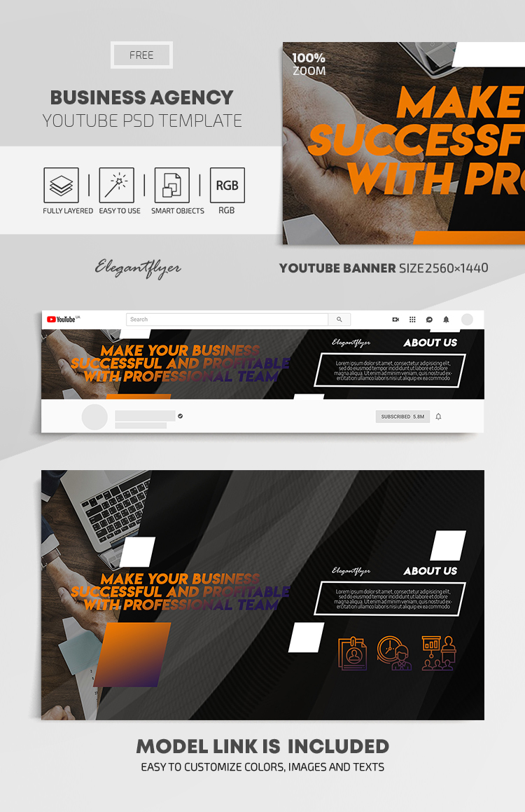 Business Agency – Free Youtube Channel banner PSD Template