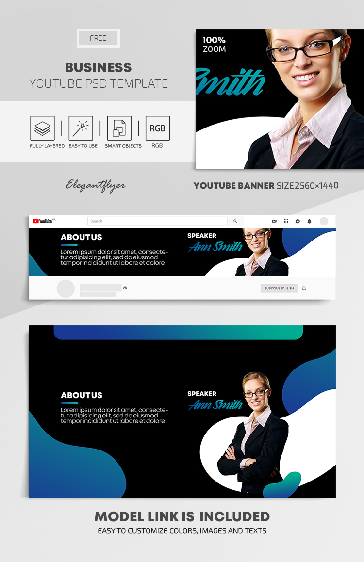 Business – Free Youtube Channel banner PSD Template