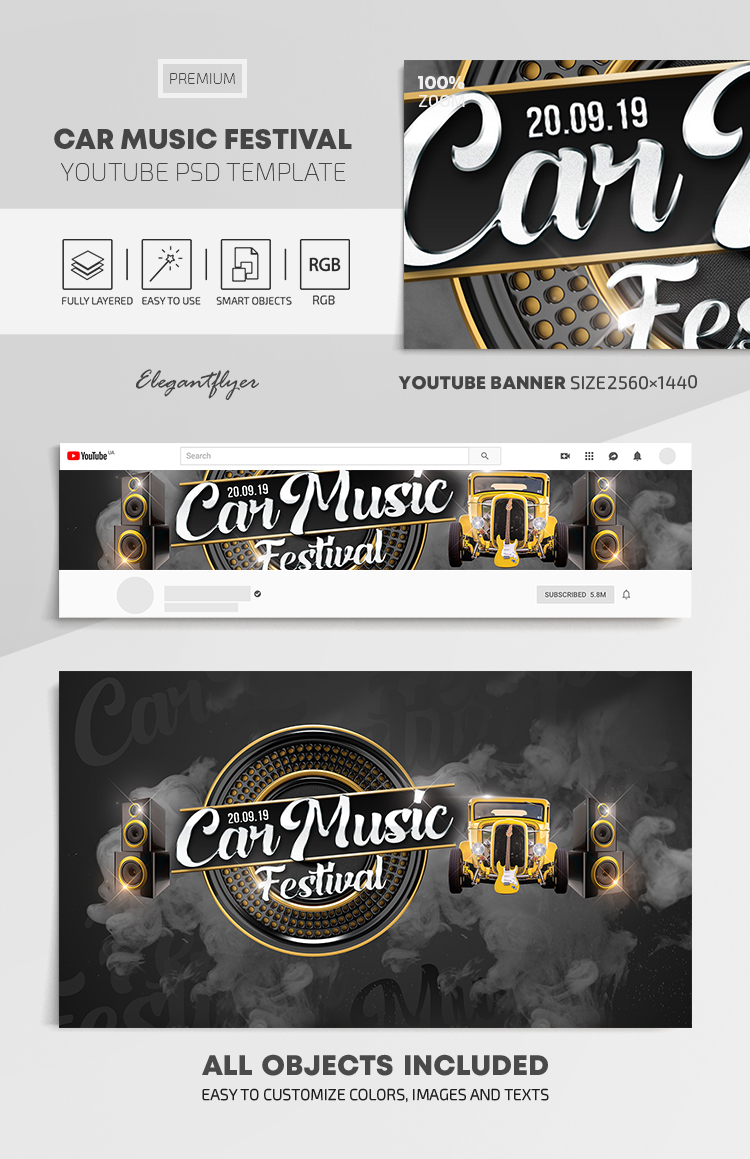 Car Music Festival – Youtube Channel banner PSD Template