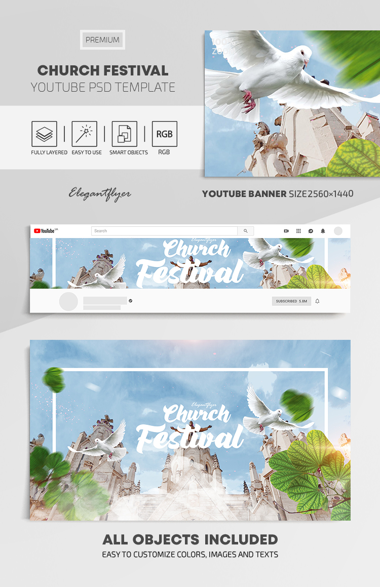 Church Festival – Youtube Channel banner PSD Template