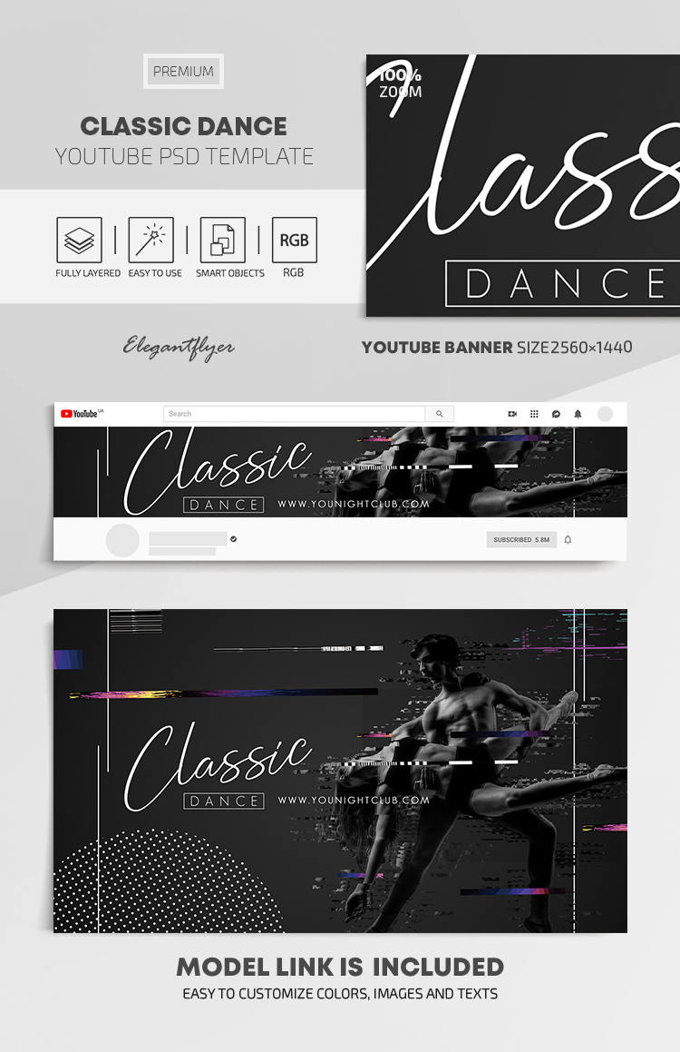 Classic Dance – Youtube Channel banner PSD Template