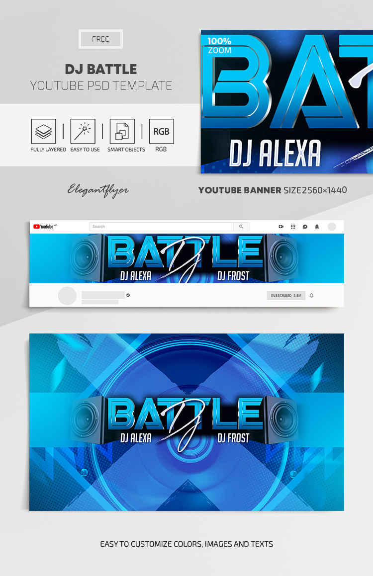 DJ Battle – Free Youtube Channel banner PSD Template