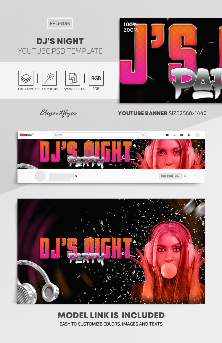 DJ's Night – Youtube Channel banner PSD Template
