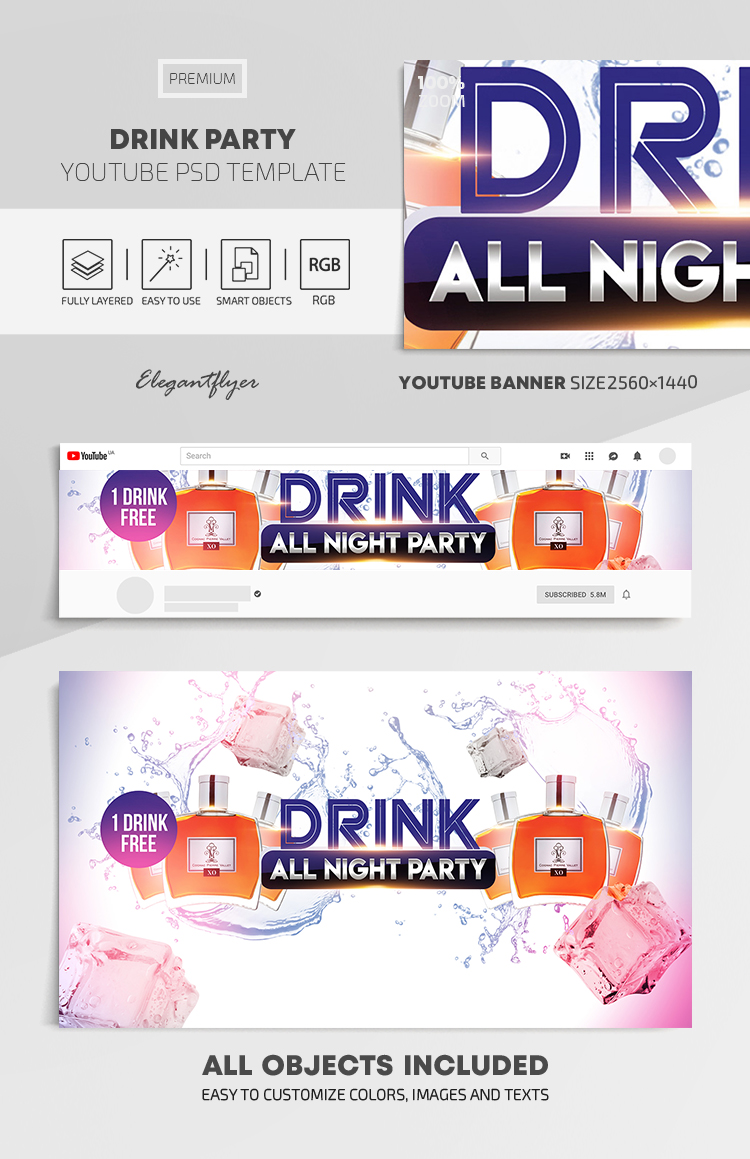 Drink Party – Youtube Channel banner PSD Template