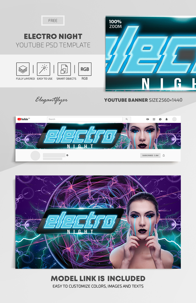 Electro Night – Free Youtube Channel banner PSD Template