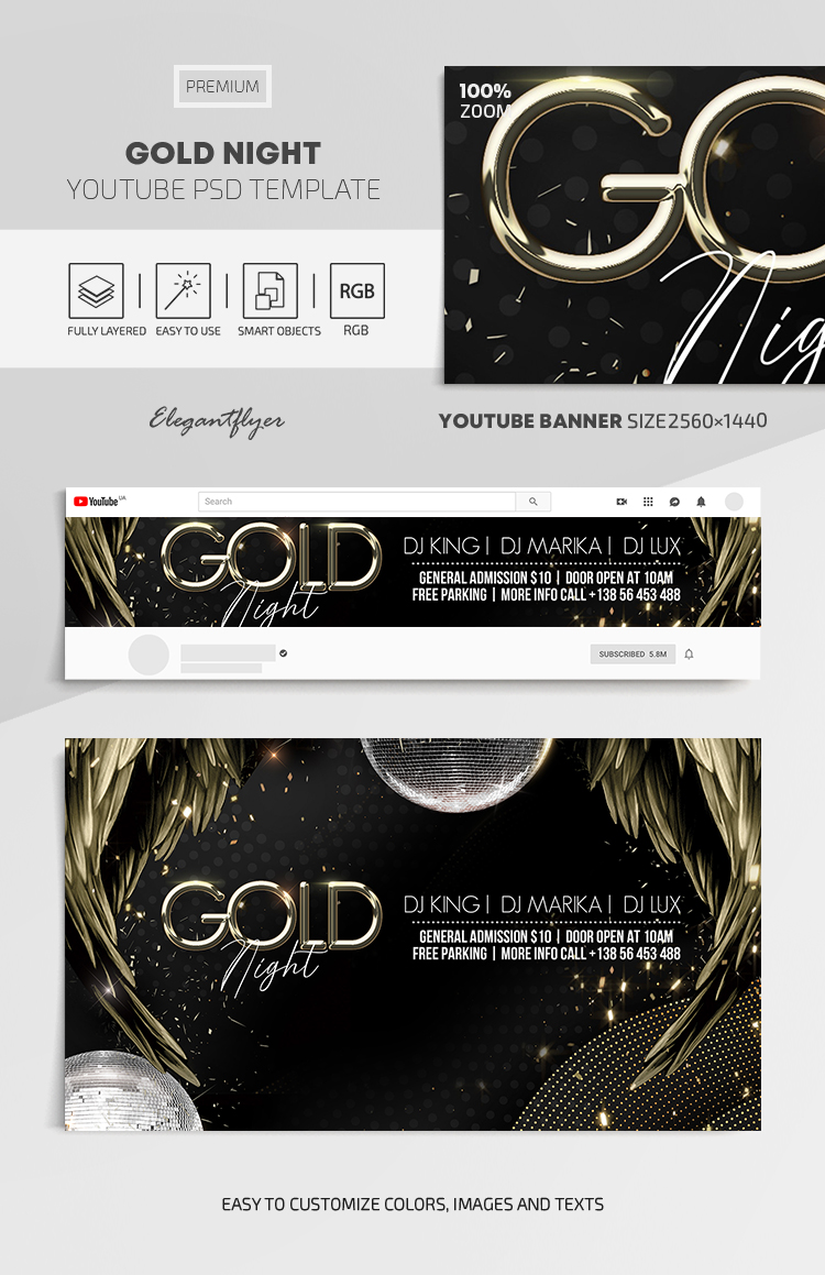Gold Night – Youtube Channel banner PSD Template
