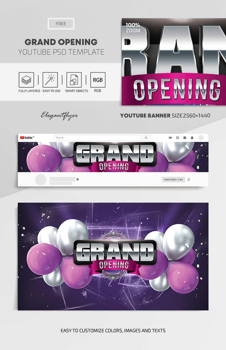 Grand Opening – Free Youtube Channel banner PSD Template