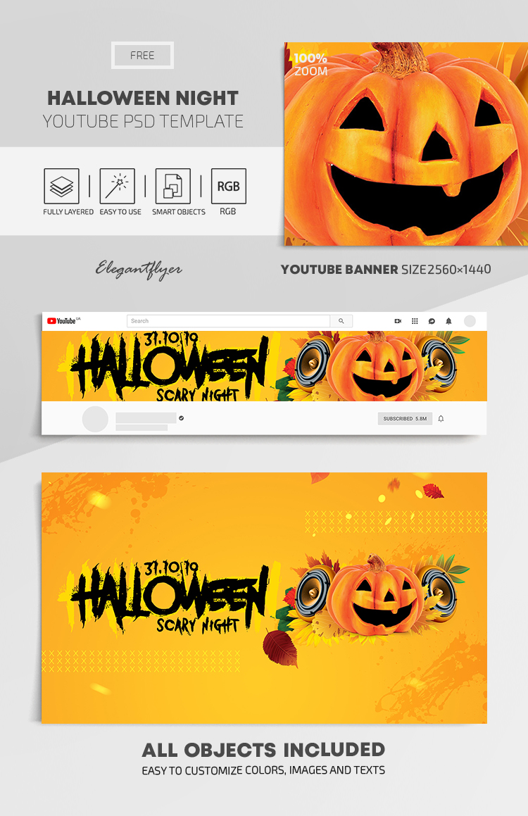 Halloween Night – Free Youtube Channel banner PSD Template