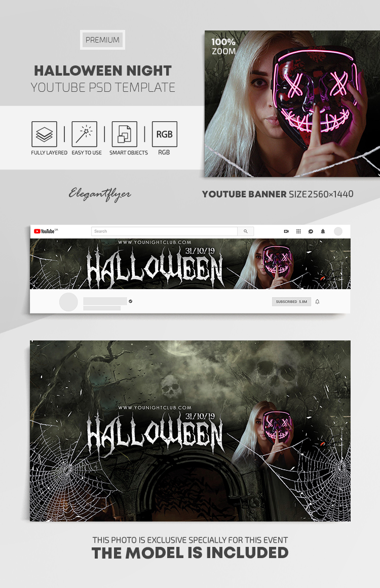 Halloween Night – Youtube Channel banner PSD Template