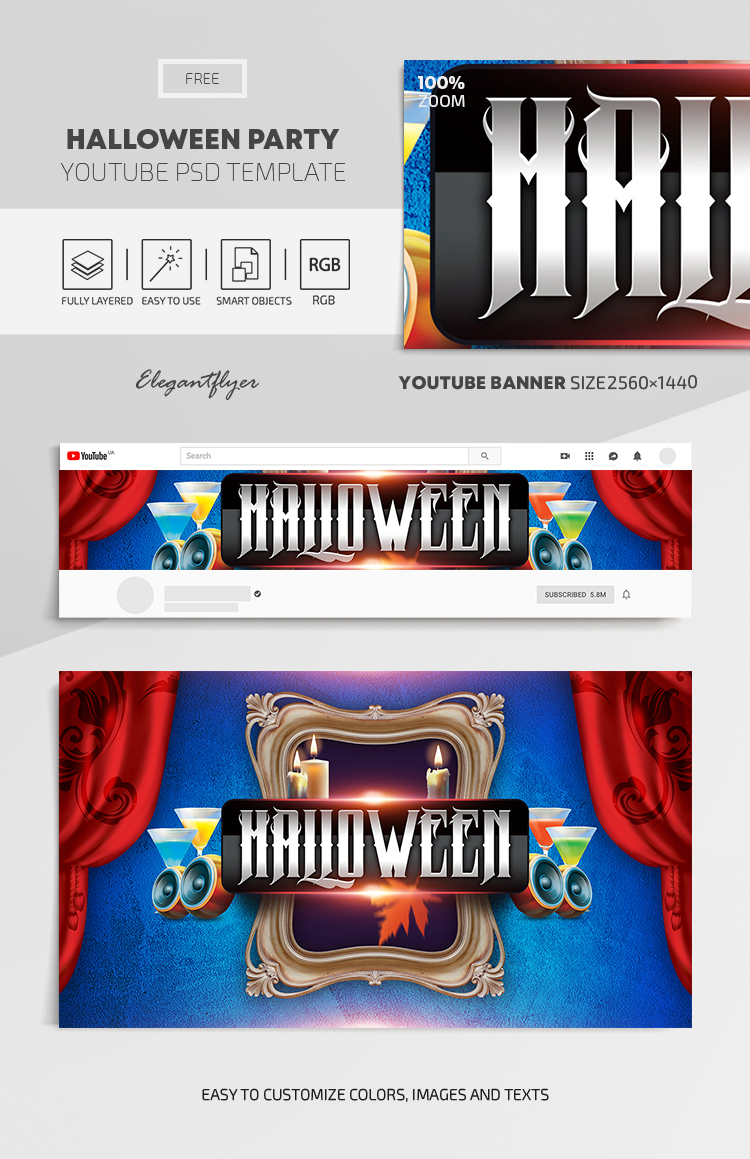 Halloween Party – Free Youtube Channel banner PSD Template
