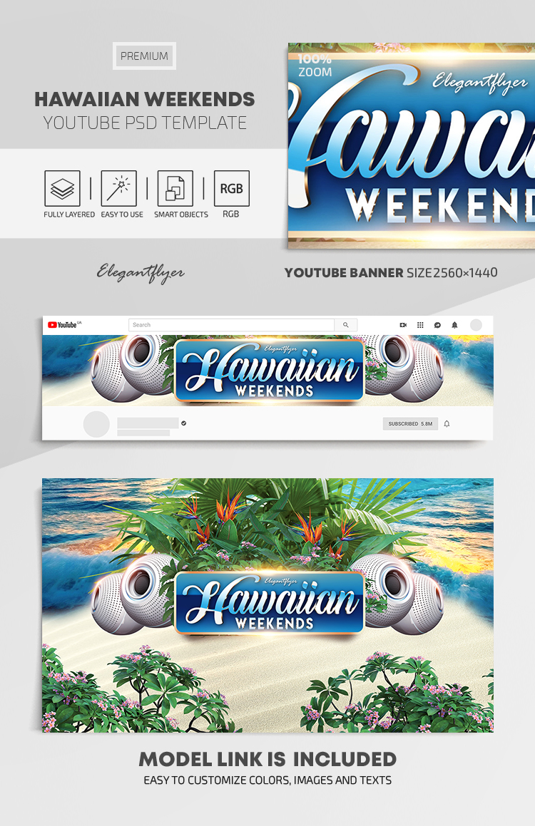 Hawaiian Weekends – Youtube Channel banner PSD Template